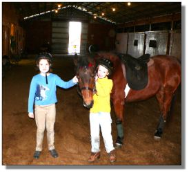 "Riding students, Mary Lillian and Isabel with ""Miranda"", American Saddlebred/Hackney cross pony."